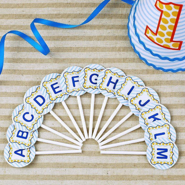 Letter Cake Topper for Baby Shower/ Kids Birthday Cake Decorations (Blue)