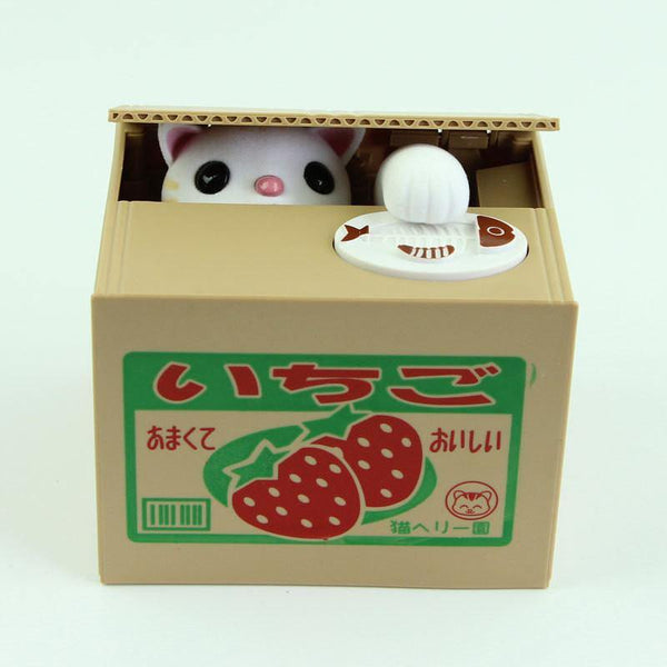 Toy Coin Bank/ Piggy Bank/ Automated Saving Box (Kitty Cat in Strawberry Box) - Charmerry