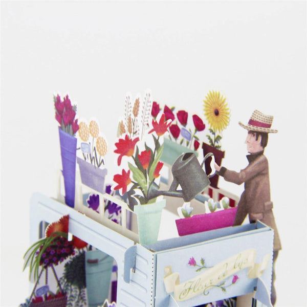 Vintage Flower Car Greeting Card/ 3D Pop Up Design Holiday Card