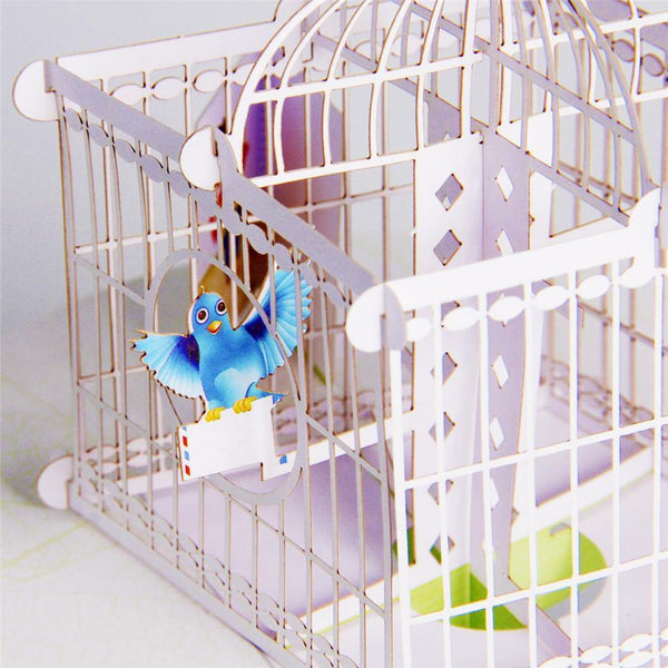 Greeding Cards Love Message Bird and Birdcage / 3D Pop Up Greeting Card - Charmerry