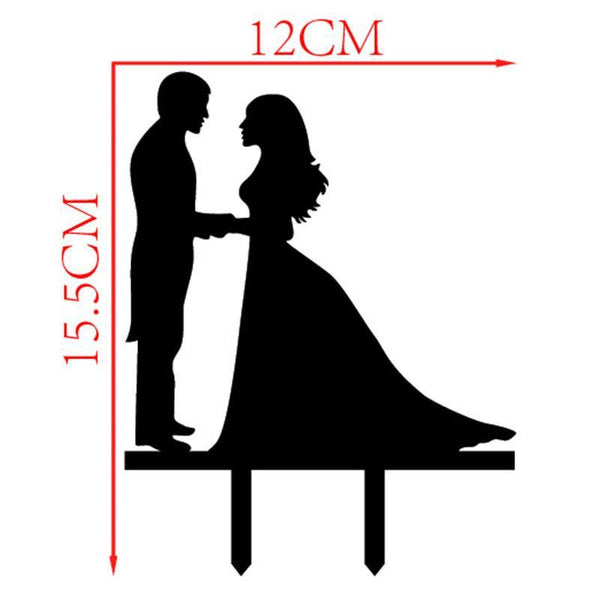 Cake Topper Romantic Cake Topper (Bride & Groom Holding Hands & Gazing Lovingly) - Charmerry