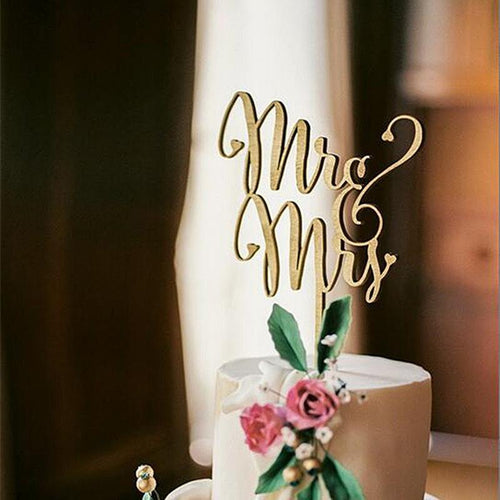 Wedding Cake Topper (Beautiful Wooden /Cursive/Rustic Theme /Mr & Mrs) - CHARMERRY