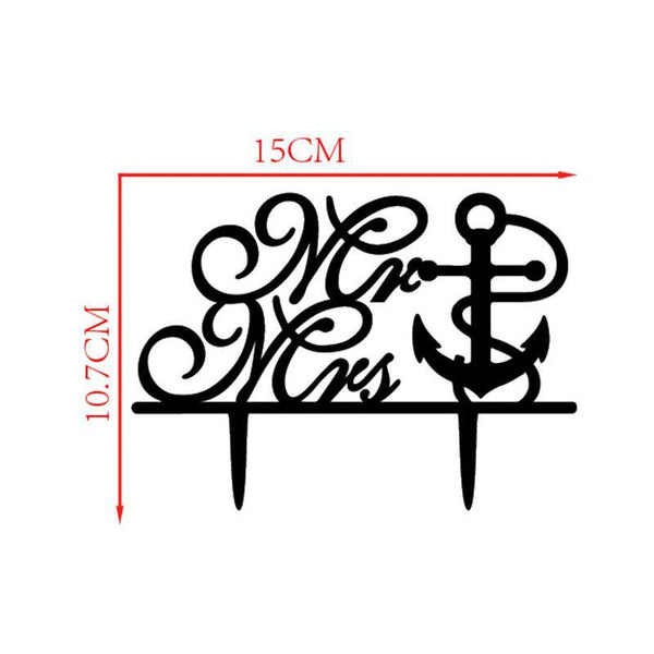 Wedding Cake Topper (Anchor /Navy Theme /Cursive Writing /Creative /Mr Mrs) 2- Charmerry