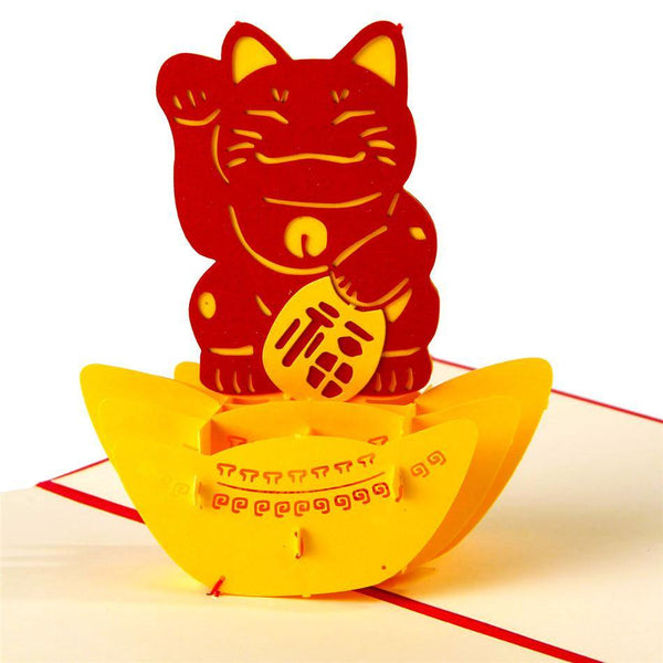 Greeding Cards Lucky Cat 3D Pop Up Greeting Card - Charmerry