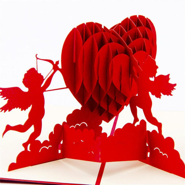 Greeding Cards Love Heart Greeting Card/ 3D Pop Up Design Holiday Card - Charmerry