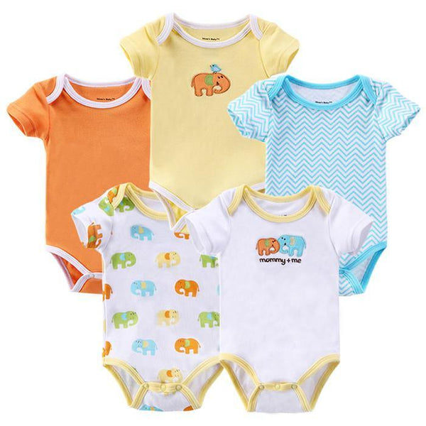 Baby Clothes Cartoon Baby Romper 100% Cotton (5-count/ Set) - Charmerry