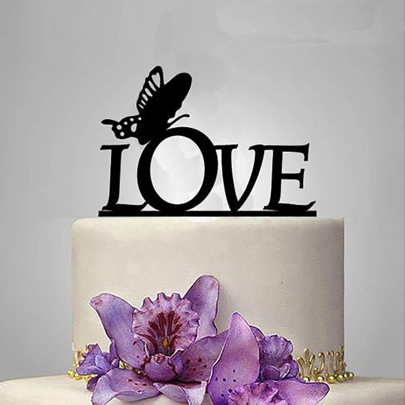 Wedding Cake Topper /Romantic Cake Decoration (Beautiful Butterfly /Love) - CHARMERRY