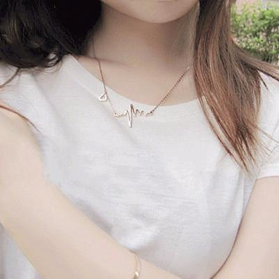 Fashion Jewelry Heart Beat Electrocardiogram Rhythm Necklace - Charmerry