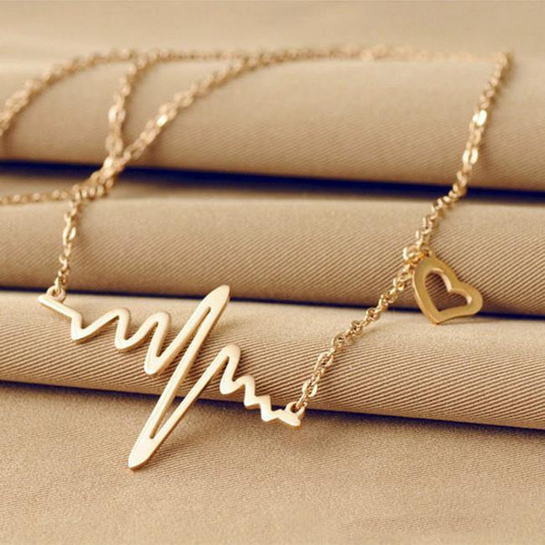 Fashion Jewelry Heart Beat Electrocardiogram Rhythm Necklace   Charmerry