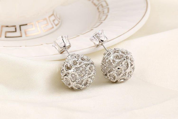 Fashion Jewelry Luxury Flower Ball Double Sided Stud - Charmerry