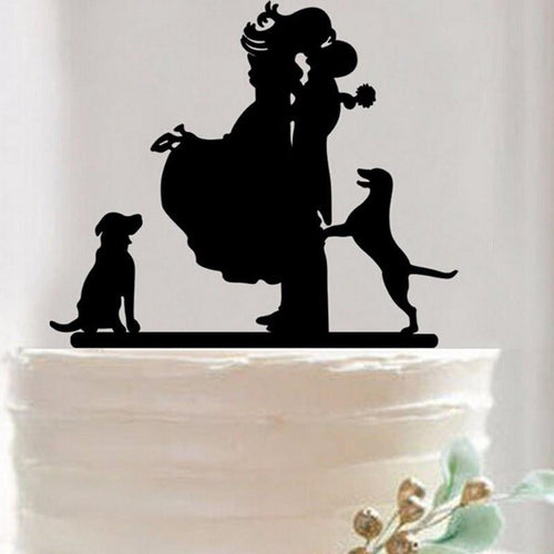 Cake Topper Wedding Cake Topper - Anniversary Cake Decoration (Bride Groom & Dog Pet) - Charmerry
