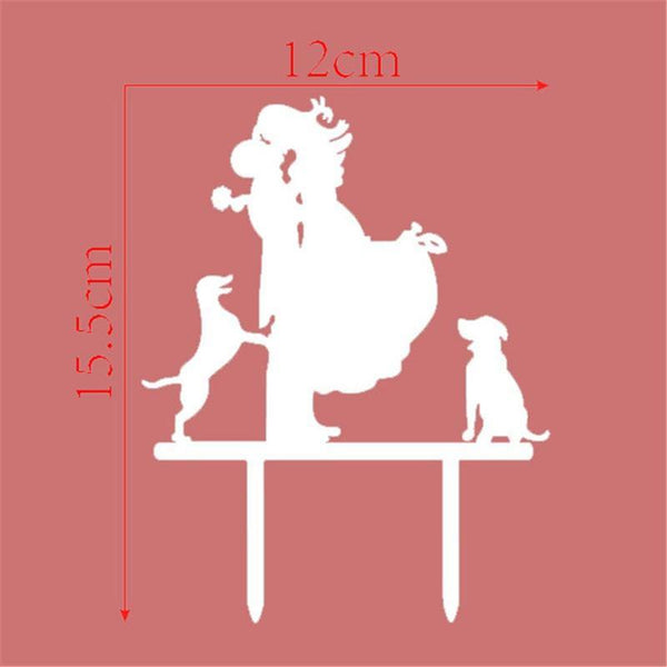 Sweet Family Cake Topper (Groom Lifting Bride & Kiss /Dog Pet Puppy) - Charmerry 2