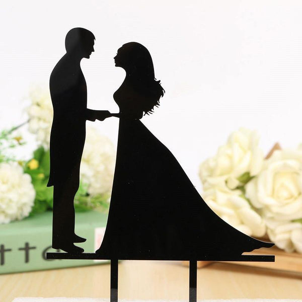 Romantic Cake Topper (Bride & Groom Holding Hands & Gazing Lovingly)