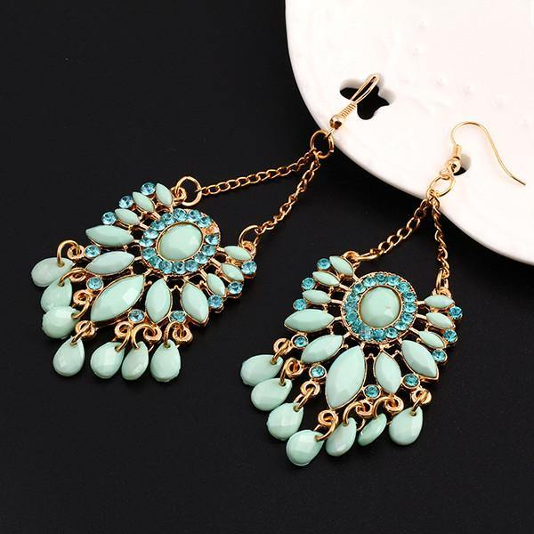 Faux Turquoise Statement Drop Earring