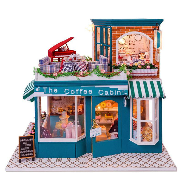 Wooden Doll House DIY Miniature Coffee Shop