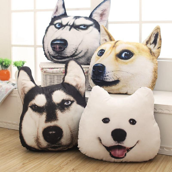 Cushion & Cover Dog Cushion Simulation 3D Pillow (Husky/ Akita/ Samoyed) - Charmerry