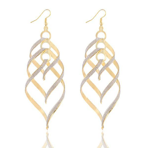 Shiny Spiral Ribbon Drop Earring