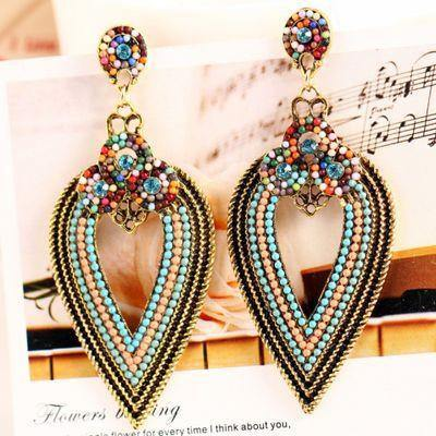 Vintage Bohemian Beads Drop Earring (Upside Down Raindrop)