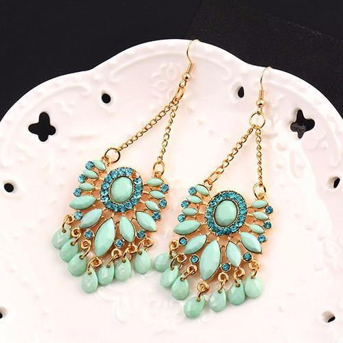 Fashion Jewelry Faux Turquoise Statement Drop Earring - Charmerry