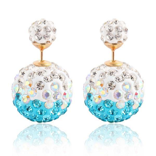 Fashion Jewelry Rhinestone Double Sided Stud - Charmerry