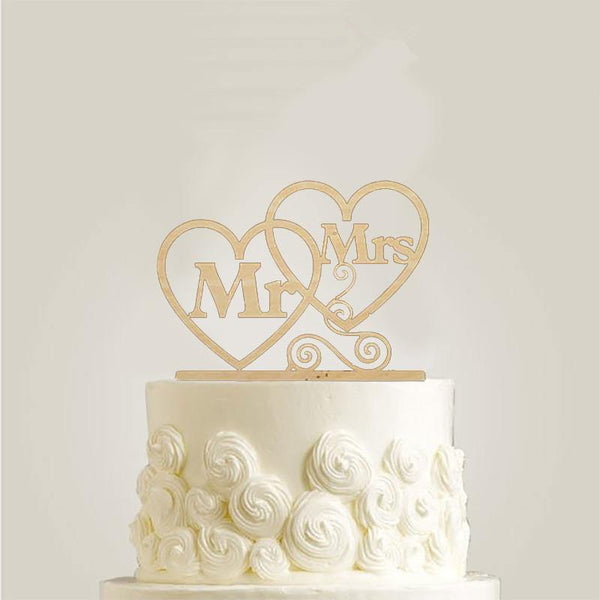 Cake Topper Heart to Heart Cake Topper (Double Heart Shape /Mr & Mrs Love Couple) - Charmerry