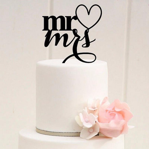Wedding Cake Topper (Heart Shape Mr Loves Mrs) -Mr.& Mrs. Cake Decoration