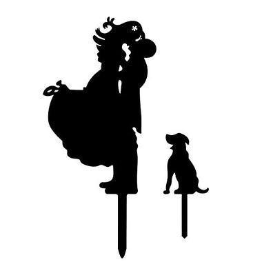Wedding Cake Topper (Groom Bride Huge Lift & Kiss /Dog Pet Puppy Lover) - CHARMERRY