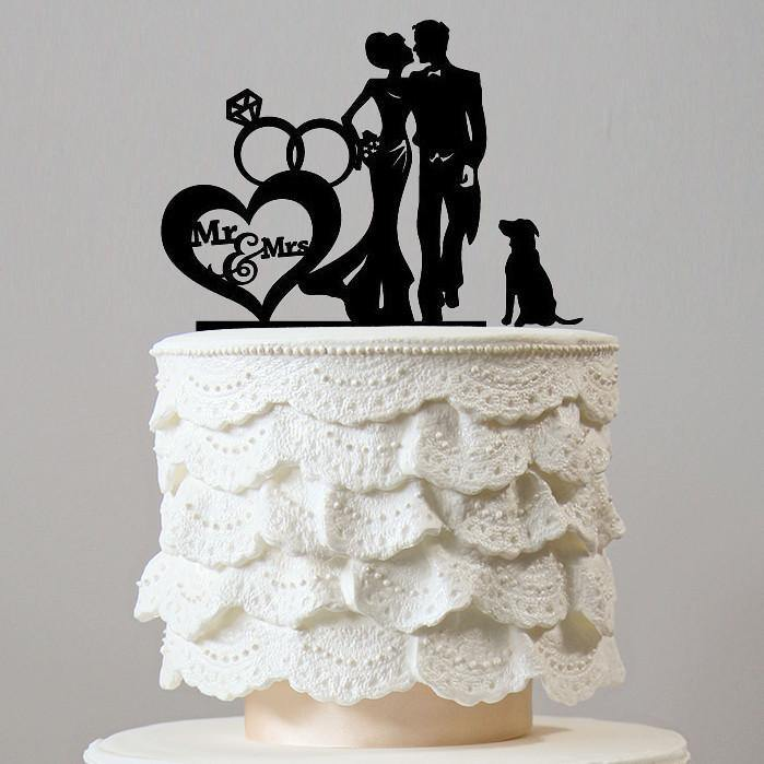 Romantic Cake Topper for Wedding Anniversary Engagement (Dog Pet Puppy) [Groom & Bride w/ Dog]