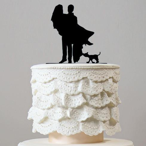 Cake Topper for Engagement &Wedding (Bridal Carry /Dog Pet Puppy) [Romantic Groom Carrying Bride] - CHARMERRY