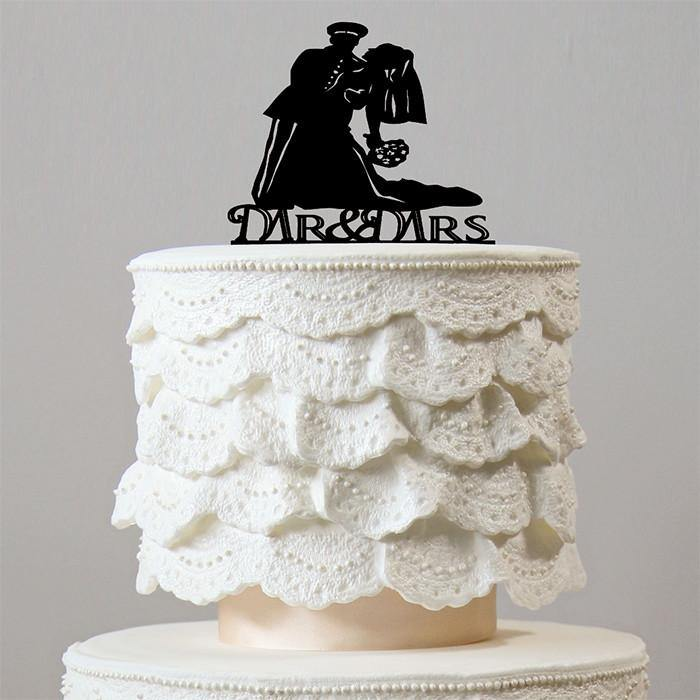 wedding cake topper groom dipping bride dip wedding cake topper soldier officer 26328