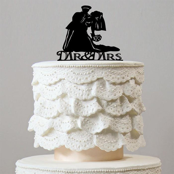 Romantic Dance Dip Wedding Cake Topper (Soldier Officer Military Army)