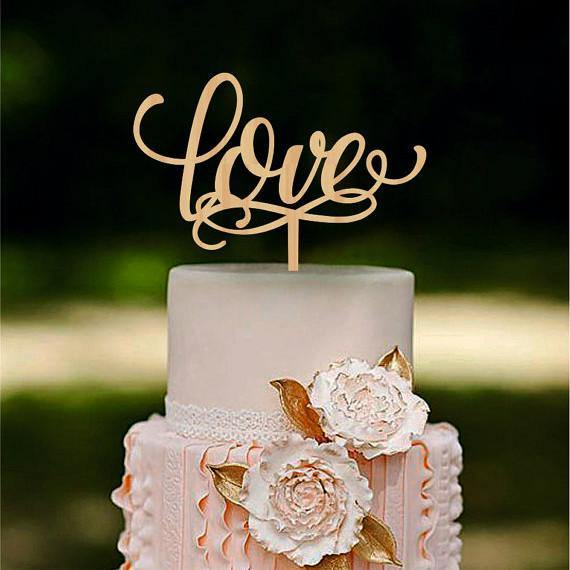 Romantic LOVE Rustic Wedding Cake Toppers (Vintage /Beautiful Wood)
