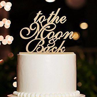 Romantic Rustic Wedding Cake Topper (Vintage /Beautiful Wood) [To the Moon and Back] - CHARMERRY