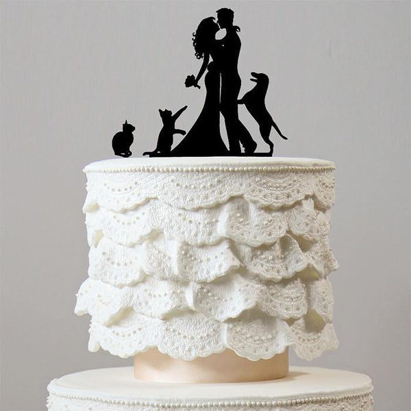 Romantic Wedding Cake Topper 1 Dog & 2 Cats (Happy Family Pets /Puppy)