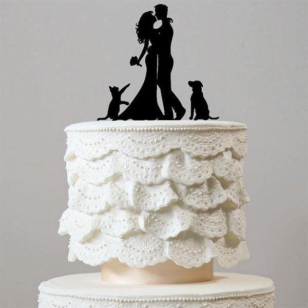 Wedding Cake Topper 1 Dog &1 Cat (Family Pet Puppy /Engagement)