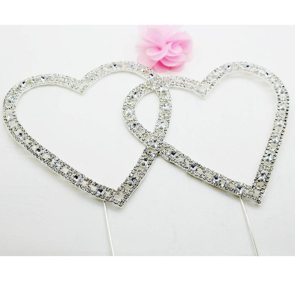 Love Heart Crystal Rhinestone Cake Topper/FAUX Diamond Silver Diamante