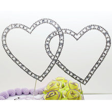 Load image into Gallery viewer, Love Heart Crystal Rhinestone Cake Topper/FAUX Diamond Silver Diamante - CHARMERRY
