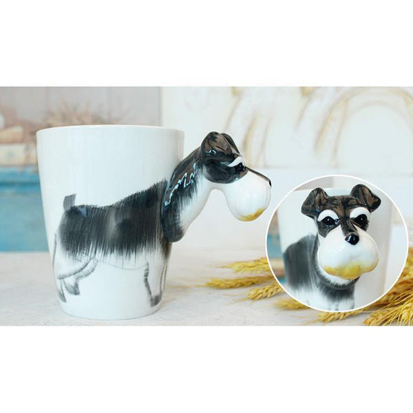 Dog Coffee Mug -Unique Puppy Pet Ceramic Tea Cup Gift (Schnauzer)