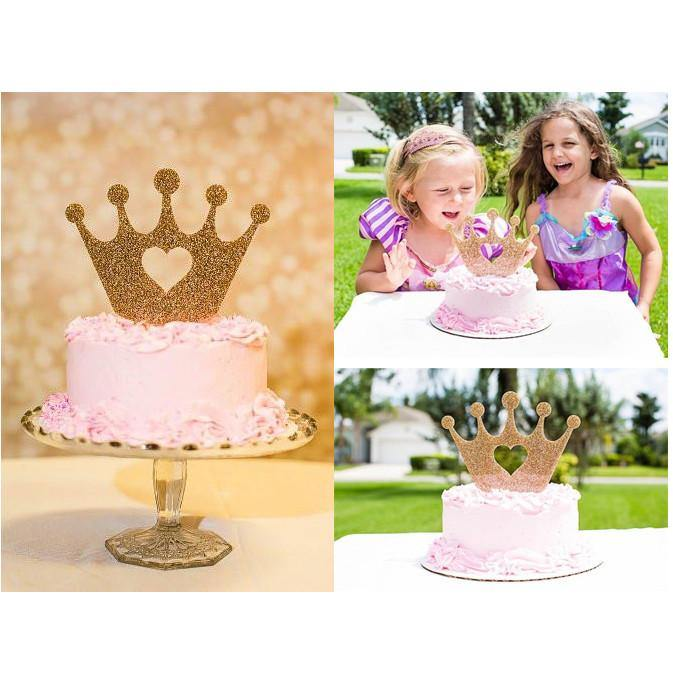 Crown Birthday Cake Topper Girls Party Decoration Baby Shower Decor Princess