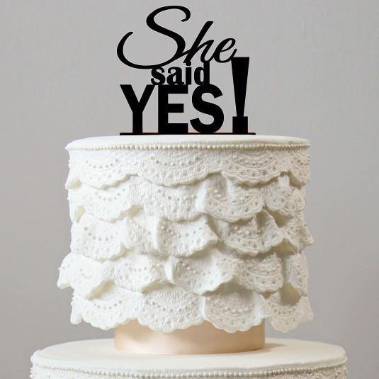 She Said Yes Cake Toppers (Romantic Wedding /Engagement /Bridal Shower)