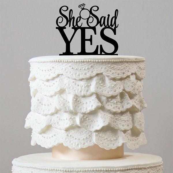 She Said Yes Cake Toppers (Romantic Wedding /Engagement /Bridal Shower) [Gold Silver Wood Black]