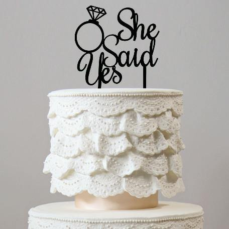 She Said Yes Wedding Cake Topper (Diamond Ring /Engagement /Bridal Shower) [Gold Silver Wood Black]