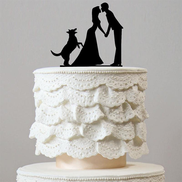 Sweet Family Wedding Cake Topper (Romantic Bride Groom w/ Dog Pet Puppy)