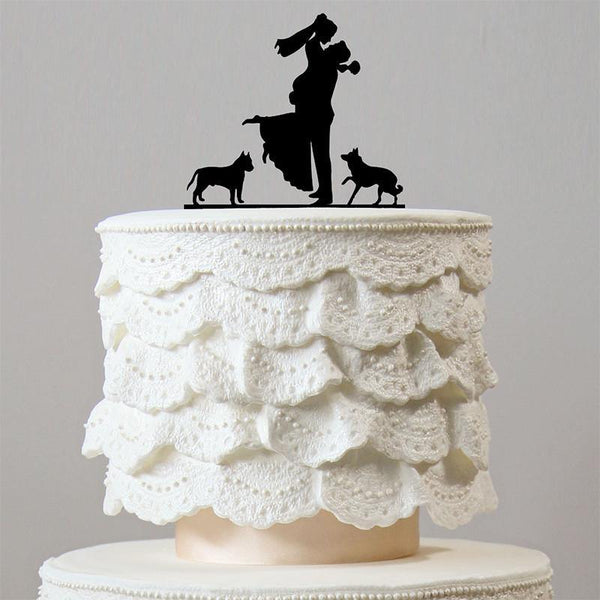 Sweet Family Wedding Cake Toppers /2 Dogs (Engagement /Puppy Pets)