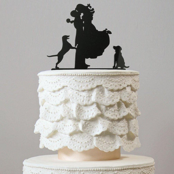 Sweet Family Cake Topper (Groom Lifting Bride & Kiss /Dog Pet Puppy)