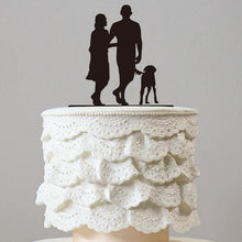Load image into Gallery viewer, Family Cake Topper for Wedding Anniversary Engagement (Dog Pet Puppy) [Sweet Couple Walking The Dog] - CHARMERRY