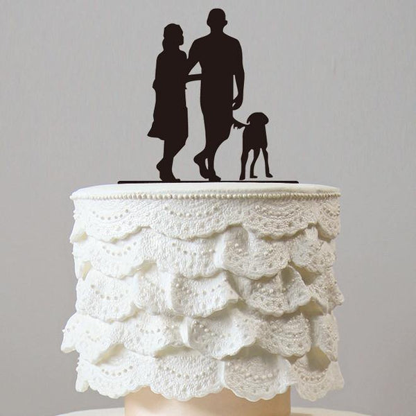 Family Cake Topper for Wedding Anniversary Engagement (Dog Pet Puppy) [Sweet Couple Walking The Dog]