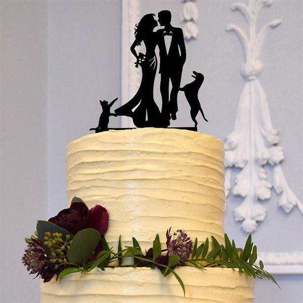 Wedding Cake Topper 1 Dog &1 Cat (Happy Family Bride Groom Pets Puppy)