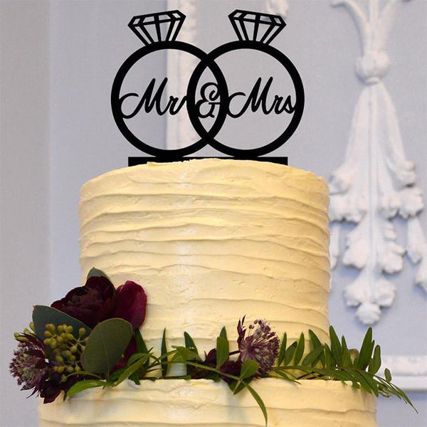 Wedding Cake Topper Decorations (Simple &Elegant /Mr Mrs Diamond Ring)