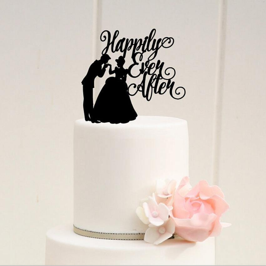 Wedding Cake Topper (Happily Ever After /Groom Kiss Bride Hand) - CHARMERRY